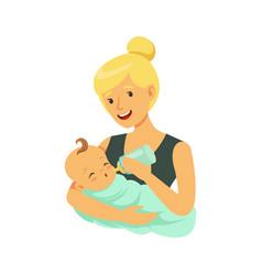 Happy blonde mother holding her bonded baand vector