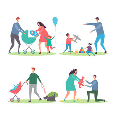 happy families with kids and dogs mothers vector image