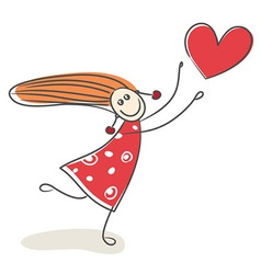 Happy little girl in love vector