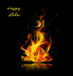 happy lohri fire realistic on a black background vector image