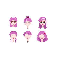head of lovely girls with purple hair set vector image