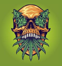 Head skull weed kush vector