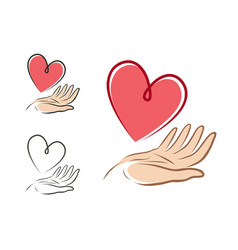 Heart in hand logo or label health love life vector
