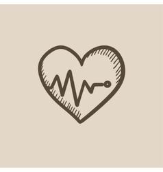 Heart with cardiogram sketch icon vector