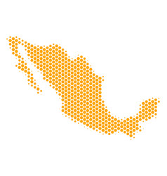 Hexagon halftone mexico map vector