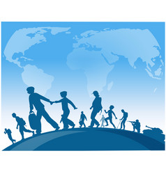 Immigration people walk under world map background vector
