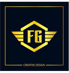 Initial fg letter logo template design vector