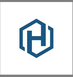 initials h hexagon logo vector image