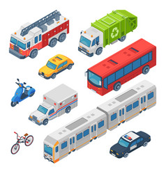 isometric city transport ambulance police car vector image