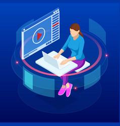 Isometric concept for digital reading e-classroom vector