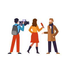 Journalist interviews celebrity newscaster vector