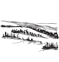 Landscape with fields and trees sketching vector