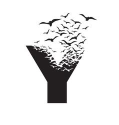 Letter y with effect destruction dispersion vector