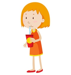 Little girl drinking from a cup vector