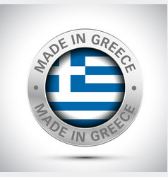 made in greece flag metal icon vector image