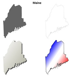 Maine outline map set vector image