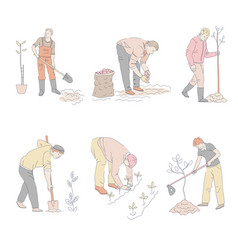 Men planting trees and vegetables in ground vector