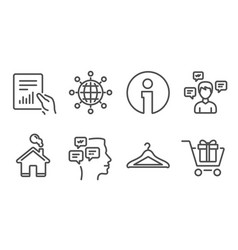 Messages document and international globe icons vector