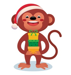 Monkey with gifts New Year vector image