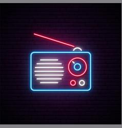 neon radio sign radio receiver vector image