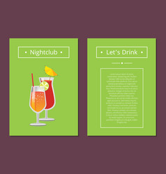 Nightclub parties lets drink poster with lemonade vector