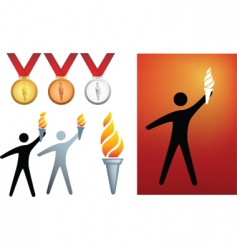 Olympic flame icons vector image