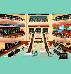 People in a book store vector