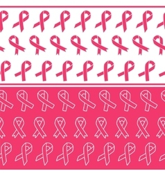 Pink ribbons seamless borders vector