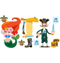 Pirate captain and mermaid banner from an old vector