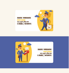 Postman business card mailman delivers mails vector