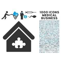 Puzzle building icon with 1000 medical business vector