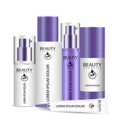 realistic cosmetic bottles set for skin and body vector image