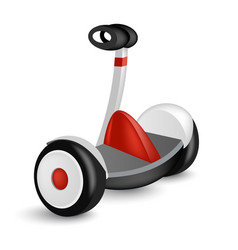 Realistic mini segway icon isolated on white eco vector