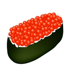 Red Caviar Salmon Roe Roll on White Background vector