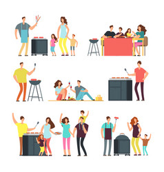 Resting people on bbq picnic active family vector