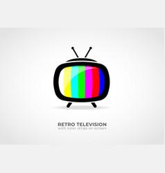 retro tv icon with colored strips vector image