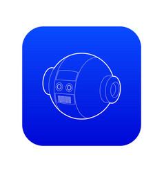 Robotic ball icon blue vector