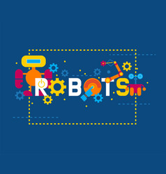 robotics creation icons banner vector image