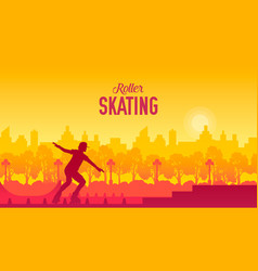 roller skating in the city park vector image