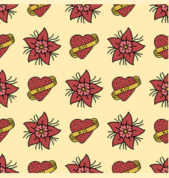 seamless beautiful pattern with summer flowers vector image