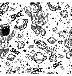 seamless pattern cat astronaut soaring in vector image