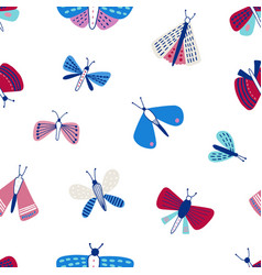 seamless pattern with moths on white background vector image