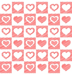 Seamless red hearts sketch vector
