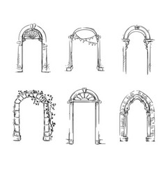 set arches architectural detail vector image