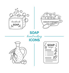 set of thin line icons of handmade soap vector image