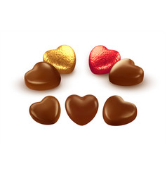 Set realistic heart shaped chocolates wrapped vector