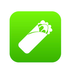 Shawarma sandwich icon digital green vector