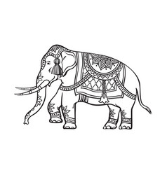 Sketch indian decorated elephant vector