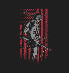 Soldier with grunge american flag vec vector