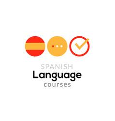 Spanish language school logo course concept vector